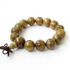 15mm Sandalwood Happy Buddha FO Tibet Buddhist Prayer Beads Mala Bracelet