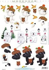 Morehead Christmas Scottie Dog 3D Decoupage Paper Crafts Card Making CUTTING REQ