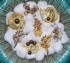 Wholesale Lot 8 Pcs  Vintage Style  Brooches Pins Brown  Bouquet #JJ15
