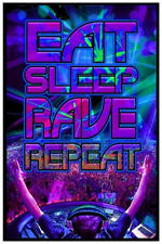 EAT SLEEP RAVE REPEAT - BLACKLIGHT POSTER - 24X36 FLOCKED PARTY DJ 1958