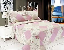 Embroidered Floral Quilt 2 PCS Set White Pink Twin Size # 510-70