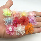 New hot 10pcs Organza Ribbon Flowers Bows Pearl For Sewing Appliques Wedding Mix