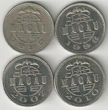4 DIFFERENT 1 PATACA COINS from MACAU (1992, 1998, 2007 & 2010)