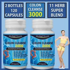 120 COLON CLEANSE CAPSULES 2000mg DAILY WEIGHT LOSS DIET DETOX SLIMMING PILLS