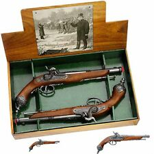 Authentic Colonial Italian Dueling Flintlock Pistols Boxed Gift Set Replica Guns