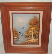 VINTAGE MALLARD BIRDS IN FLIGHT ACRYLIC OIL PAINTING SIGNED BERNARD WOOD FRAME