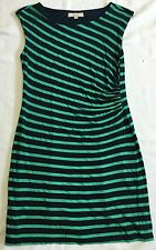 Ann Taylor Loft Green And Blue Striped Dress With Side Pleat Detail Sz L EUC