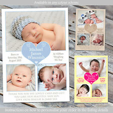 10 Personalised New Born Baby Thank You Announcement Cards Note Boys Girls Twins