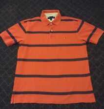 Tommy Hilfiger Orange and Navy Striped Polo Shirt CLASSIC PREPPY STYLE Large L
