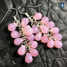 ♥ Lovely Milky Pink Czech Glass Droplets Cluster & Plated Silver Earrings