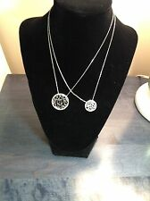 """Mother-Daughter Sterling Silver Matching """"LOVE"""" in Circles  2 Necklaces MJ-10A"""