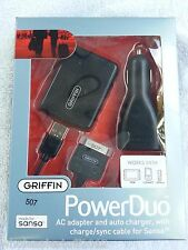 New Griffin PowerDuo Wall Car Charger Sync cable for Sansa c200 c100 fuze clip