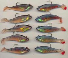10 Pike & Perch 3inch soft plastic swim bait lures - 2 pattern