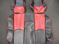 CLub Car DS '99 DN Golf Cart Deluxe™ Vinyl Seat Covers-Staple On(BLK/RED w/PPNG)