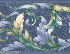 Victorian Blue Green Gold Ivy Acanthus Leaf Scroll Wall paper Border 3578523