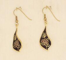 alter Cloisonné Ohrhänger 113.1 Rose Schmetterling ver-gold-et Cloisonne earring