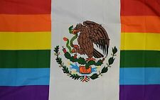 Mexico Rainbow flag Banner Sign 3' x 5 Foot  Polyester With Grommets