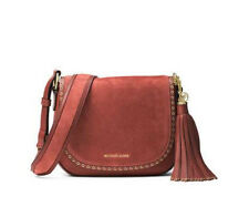 Michael kors Brooklyn Medium Saddle Bag Crossbody suede leather Brick NWT