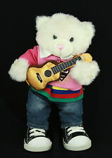Build a Bear BABW Stuffed White Pink Cat Superman Tee Guitar Shoes Clothing