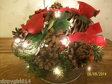 Lighted Mini Washtub Christmas Table Decoration Evergreen Cardinals Pine Cones