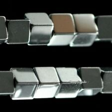 3MM SILVER HEMATITE GEMSTONE SILVER PERFECT SQUARE CUBE 3MM LOOSE BEADS 15.5""