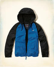 NUOVO Hollister Abercrombie MEDIUM M shepra BLUE MEN'S All Weather Giacca Felpa con Cappuccio