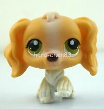 Hasbro Littlest Pet Shop LPS Tan White Cocker Spaniel Puppy Dog Green Eyes #79
