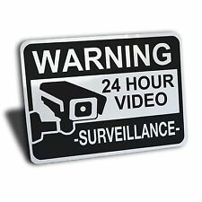 VIDEO SURVEILLANCE SIGN ALUMINUM METAL SECURITY CAMERA CCTV NOTICE RECORDING
