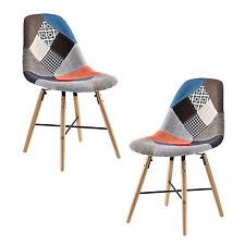 [en.casa]® Polstertuhl 2er-Set Patchwork Stuhl Holz bunt Design Retro Sessel