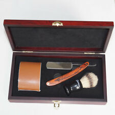 Shave Kit Knife Straight Razor Shaving Brush and leather Strop Wood Handle #08