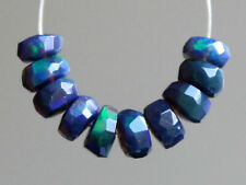 Natural Ethiopian Welo Black Opal Flashing Fire Faceted Rondelle Gemstone Beads