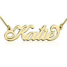 Alegro Name Necklace - Solid 14k Yellow Gold Any Name Personalized Pendant