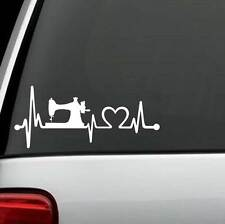 K1090 Sewing Machine Heartbeat Lifeline Decal Sticker Car Suv Van Love To Sew