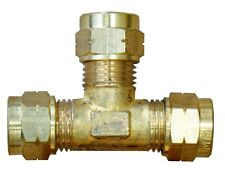 8mm T-Piece Brass Tube Coupling (Complete With Olives) - Pack of 1
