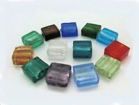 10 Silver Foil Glass Lampwork Square Bead 12mm  various colours Jewellery making