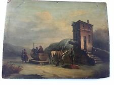 Antique Oil Painting On Wood Signed H.V. F.