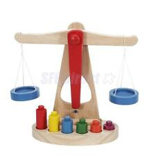Small Wooden Balance Scale with 6 Weights for Kids Preschool Math Education Toy