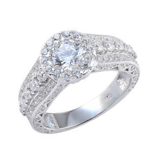 Round Cut CZ 10K White Gold Plated Wedding Engagement Ring Band Women's Size 7