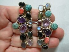 LONG CHUNKY VINTG STERLING SILVER MULTI-GEM CABOCHON CLIP-ON EARRINGS ~WOW-WEE!!