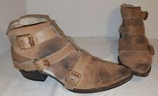 FREEBIRD by STEVEN BEIGE DISTRESSED SUEDE ANKLE BOOTS WOMEN'S SIZE 8