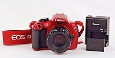 Red Canon EOS Rebel T5 Digital SLR Camera DS126491 EF 50mm Lens Battery Charger