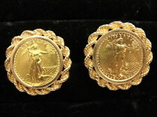 Estate (1/10 oz) $5 American Eagle Gold Coin Cufflinks Set w/ 14K Twisted Rope