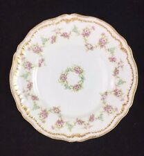 "Theodore Haviland Limoges France 7 5/8"" Round Double Gold Pink Rose China Plate"