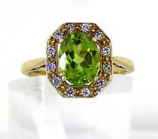 Authentic Peridot & Diamond Ring 18k Gold Size P Reputable Jeweller