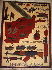 Rare Afghan Persian map (war) rug