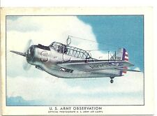 WWII 40s- Original Cigarette Card- Airplane- Reconnaissance- North American O-47