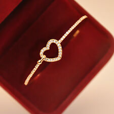 Womens Cuff Gold Plated Charm Love Heart Crystal Bangle Fashion Bracelet Jewelry