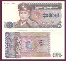 Burma P63, 35 Kyat, Gen San / mythical dancer, peacock - mystical number! 1986