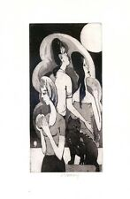 Women and Black Cat, Ex libris Free Graphic Etching by Vaclav Pokorny