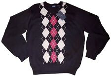 NWT IZOD Mens Black Cotton Argyle Sweater Large L NEW